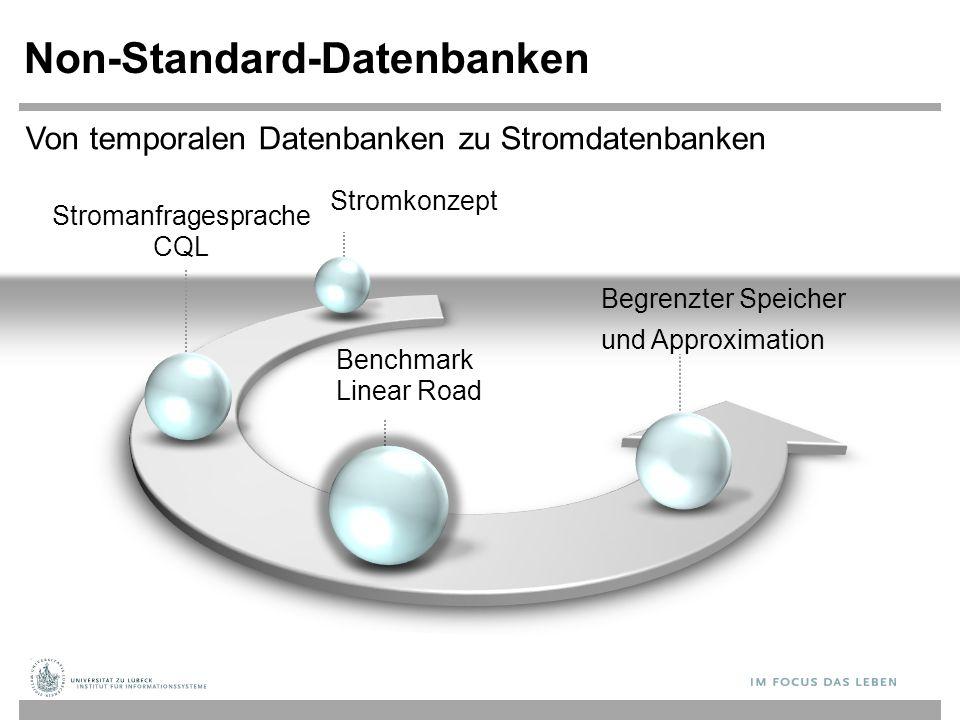 Stromanfragesprache CQL Non-Standard-Datenbanken Benchmark Linear Road Begrenzter Speicher und Approximation Von temporalen Datenbanken zu Stromdatenbanken Stromkonzept