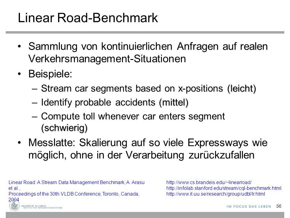 56 Linear Road-Benchmark Sammlung von kontinuierlichen Anfragen auf realen Verkehrsmanagement-Situationen Beispiele: (leicht) –Stream car segments bas