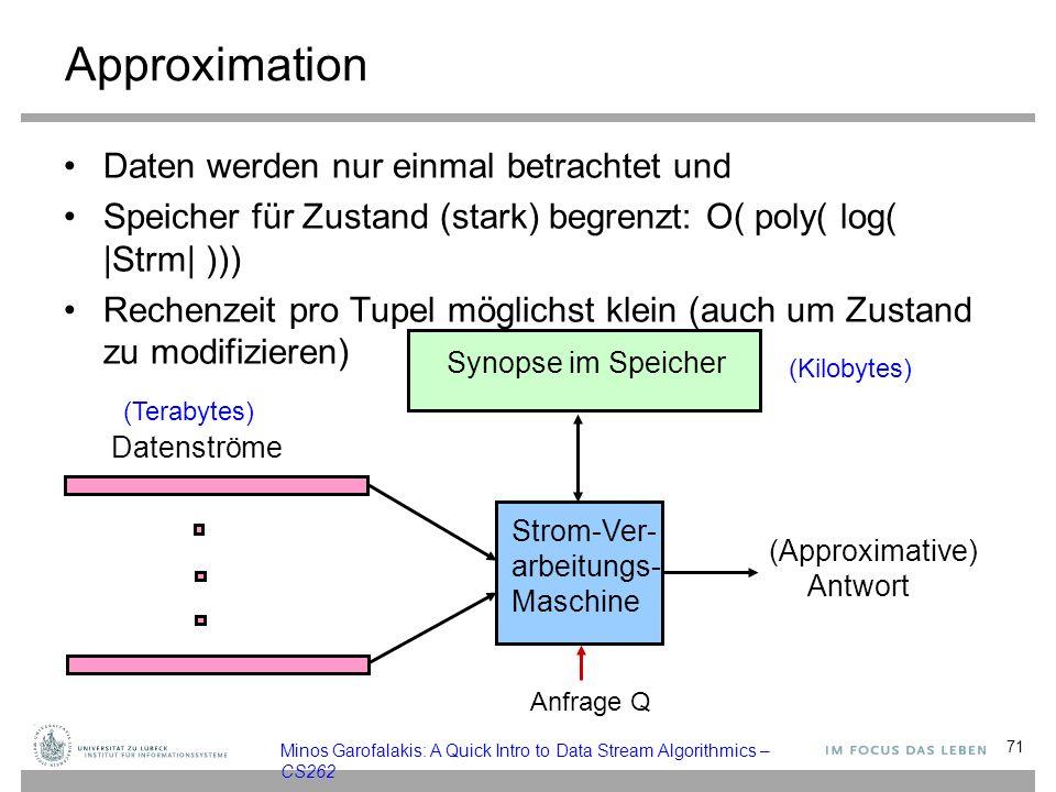 Approximation Daten werden nur einmal betrachtet und Speicher für Zustand (stark) begrenzt: O( poly( log( |Strm| ))) Rechenzeit pro Tupel möglichst klein (auch um Zustand zu modifizieren) 71 Strom-Ver- arbeitungs- Maschine (Approximative) Antwort Synopse im Speicher Datenströme (Terabytes) Anfrage Q Minos Garofalakis: A Quick Intro to Data Stream Algorithmics – CS262 (Kilobytes)