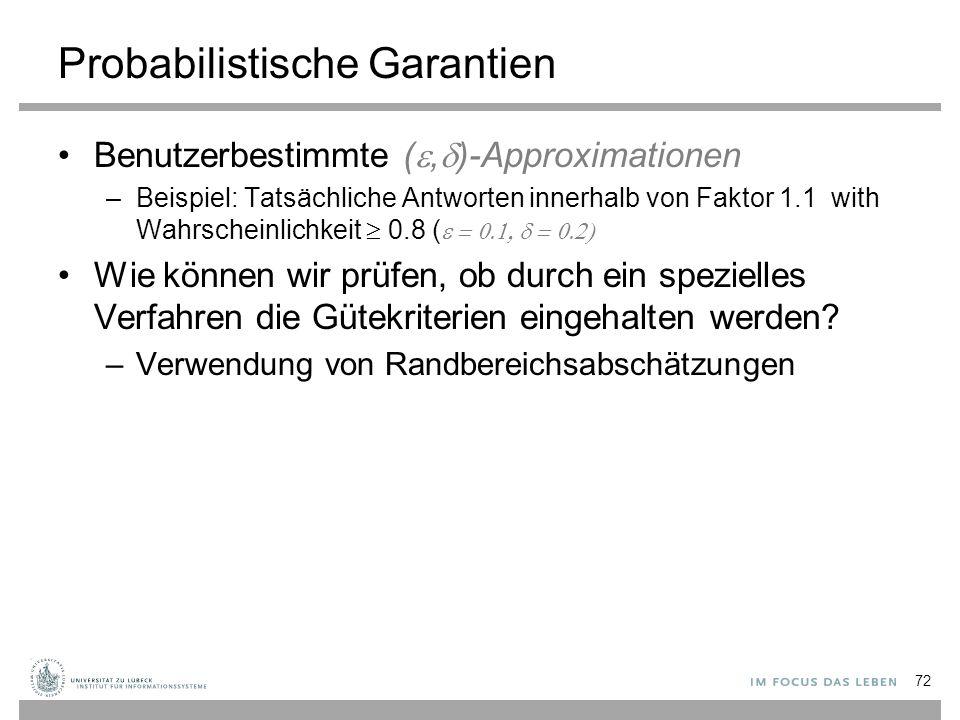 Probabilistische Garantien Benutzerbestimmte ( ,  )-Approximationen –Beispiel: Tatsächliche Antworten innerhalb von Faktor 1.1 with Wahrscheinlichke