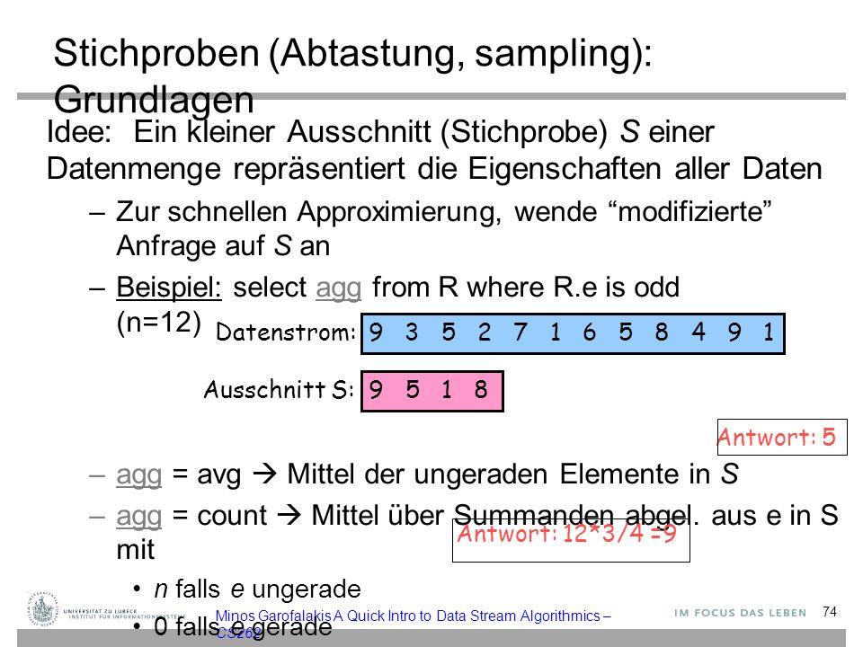 Minos Garofalakis A Quick Intro to Data Stream Algorithmics – CS262 Stichproben (Abtastung, sampling): Grundlagen Idee: Ein kleiner Ausschnitt (Stichprobe) S einer Datenmenge repräsentiert die Eigenschaften aller Daten –Zur schnellen Approximierung, wende modifizierte Anfrage auf S an –Beispiel: select agg from R where R.e is odd (n=12) –agg = avg  Mittel der ungeraden Elemente in S –agg = count  Mittel über Summanden abgel.