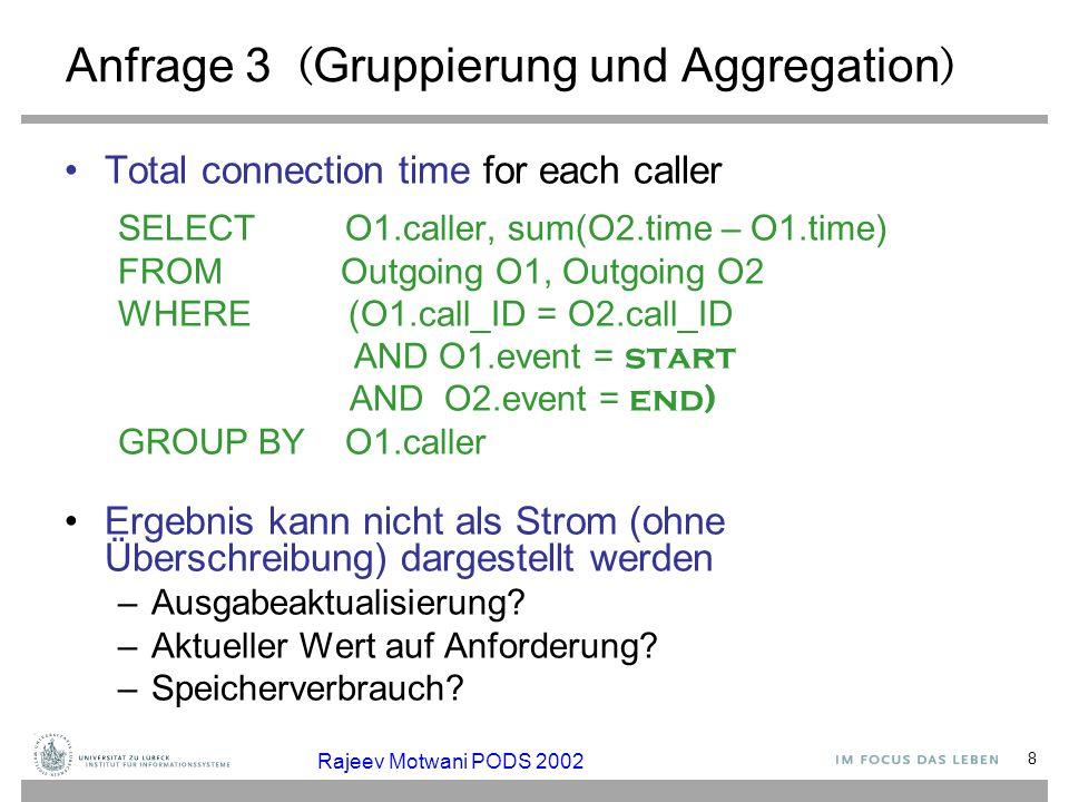 8 Anfrage 3 ( Gruppierung und Aggregation ) Total connection time for each caller SELECT O1.caller, sum(O2.time – O1.time) FROM Outgoing O1, Outgoing
