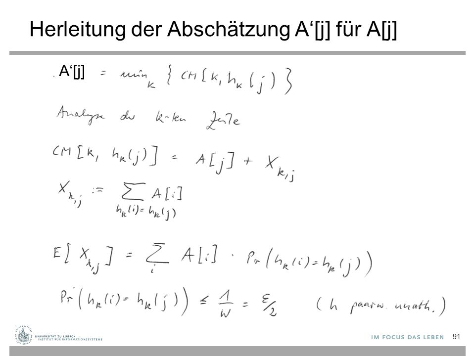 Herleitung der Abschätzung A'[j] für A[j] 91 A'[j]
