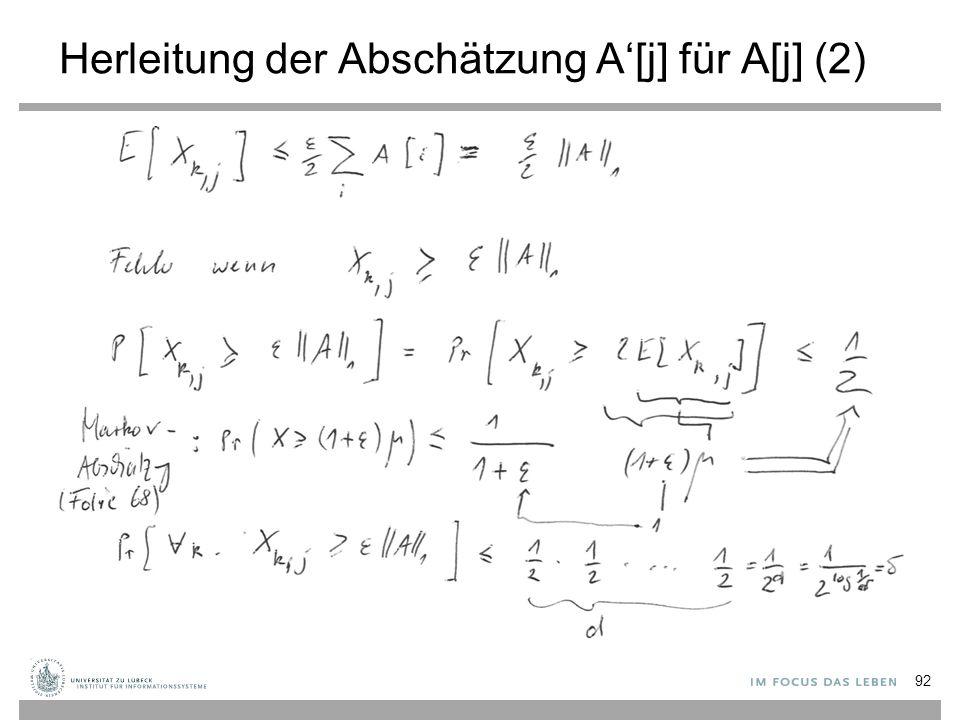 Herleitung der Abschätzung A'[j] für A[j] (2) 92