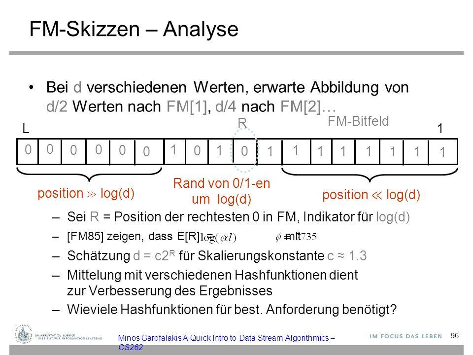 FM-Skizzen – Analyse Bei d verschiedenen Werten, erwarte Abbildung von d/2 Werten nach FM[1], d/4 nach FM[2]… –Sei R = Position der rechtesten 0 in FM, Indikator für log(d) –[FM85] zeigen, dass E[R] =, mit –Schätzung d = c2 R für Skalierungskonstante c ≈ 1.3 –Mittelung mit verschiedenen Hashfunktionen dient zur Verbesserung des Ergebnisses –Wieviele Hashfunktionen für best.