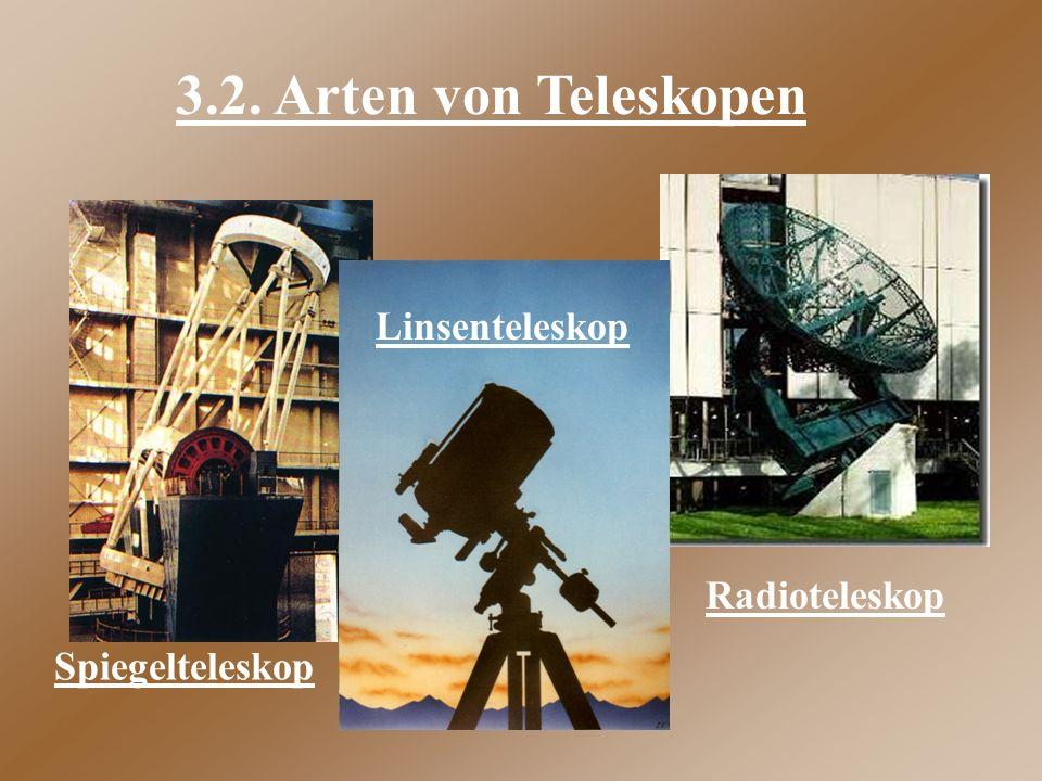 3.2. Arten von Teleskopen Spiegelteleskop Linsenteleskop Radioteleskop