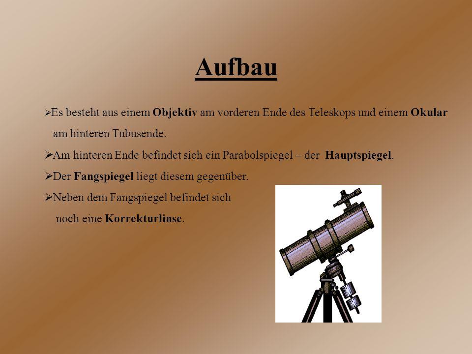 Aufbau  Es besteht aus einem Objektiv am vorderen Ende des Teleskops und einem Okular am hinteren Tubusende.  Am hinteren Ende befindet sich ein Par