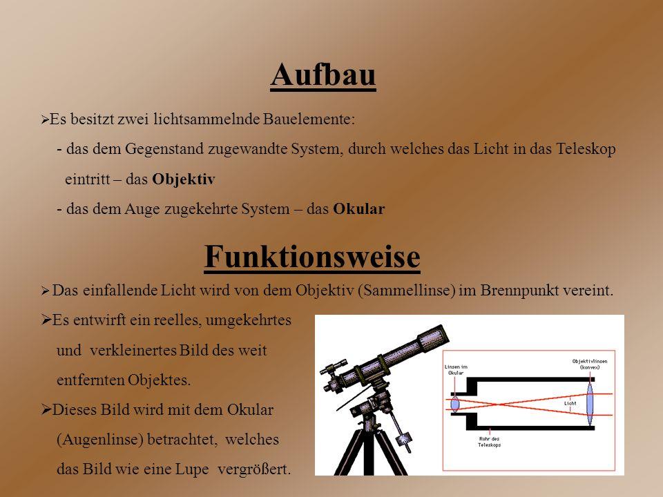 Aufbau  Es besitzt zwei lichtsammelnde Bauelemente: - das dem Gegenstand zugewandte System, durch welches das Licht in das Teleskop eintritt – das Ob