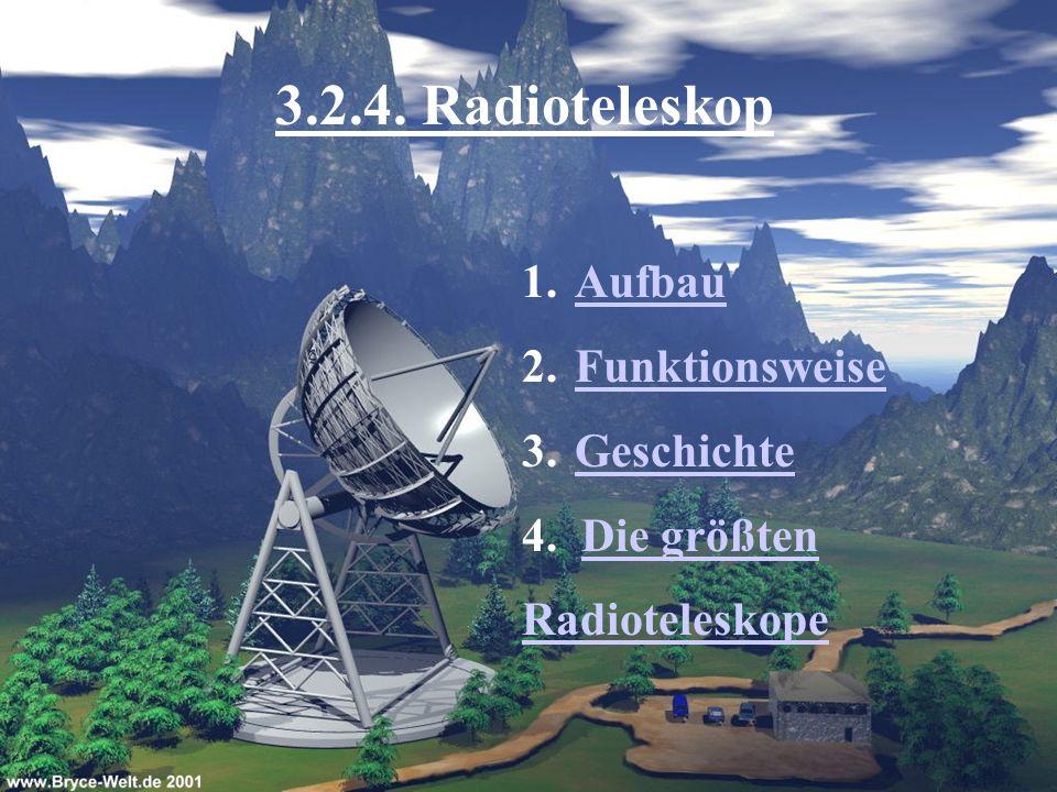 3.2.4. Radioteleskop 1.AufbauAufbau 2.FunktionsweiseFunktionsweise 3.GeschichteGeschichte 4. Die größtenDie größten Radioteleskope