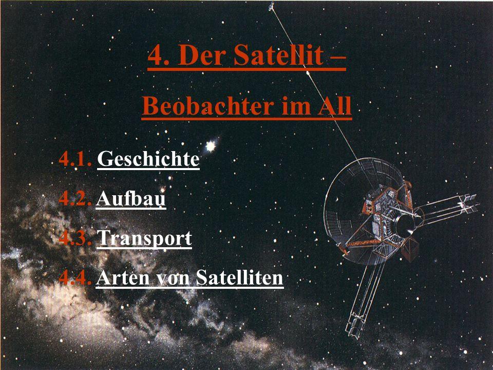 4. Der Satellit – Beobachter im All 4.1. GeschichteGeschichte 4.2. AufbauAufbau 4.3. TransportTransport 4.4. Arten von SatellitenArten von Satelliten