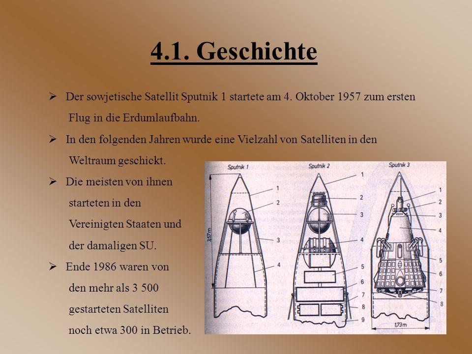 4.1. Geschichte  Der sowjetische Satellit Sputnik 1 startete am 4. Oktober 1957 zum ersten Flug in die Erdumlaufbahn.  In den folgenden Jahren wurde
