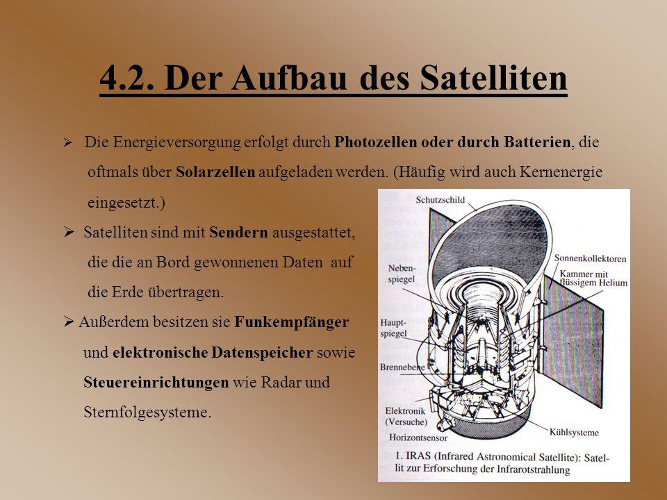 4.2. Der Aufbau des Satelliten  Die Energieversorgung erfolgt durch Photozellen oder durch Batterien, die oftmals über Solarzellen aufgeladen werden.