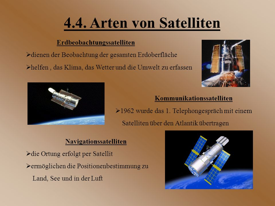 Erdbeobachtungssatelliten  dienen der Beobachtung der gesamten Erdoberfläche  helfen, das Klima, das Wetter und die Umwelt zu erfassen Navigationssa