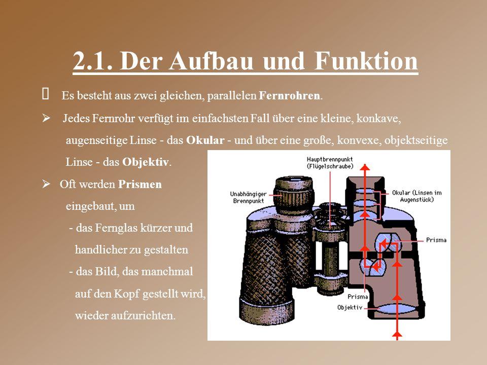 2.1. Der Aufbau und Funktion  Es besteht aus zwei gleichen, parallelen Fernrohren.  Jedes Fernrohr verfügt im einfachsten Fall über eine kleine, kon