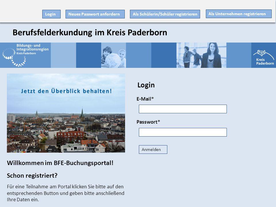 E-Mail* Passwort* Anmelden Als Unternehmen registrieren Als Schülerin/Schüler registrieren Willkommen im BFE-Buchungsportal! Schon registriert? Für ei