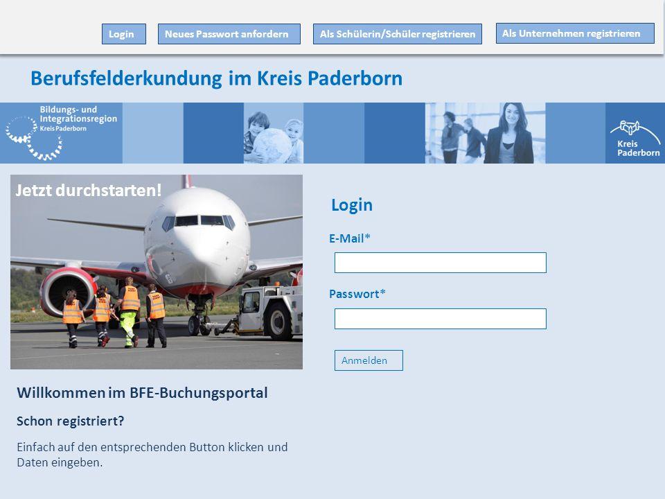 E-Mail* Passwort* Anmelden Als Unternehmen registrieren Als Schülerin/Schüler registrieren Willkommen im BFE-Buchungsportal Schon registriert.