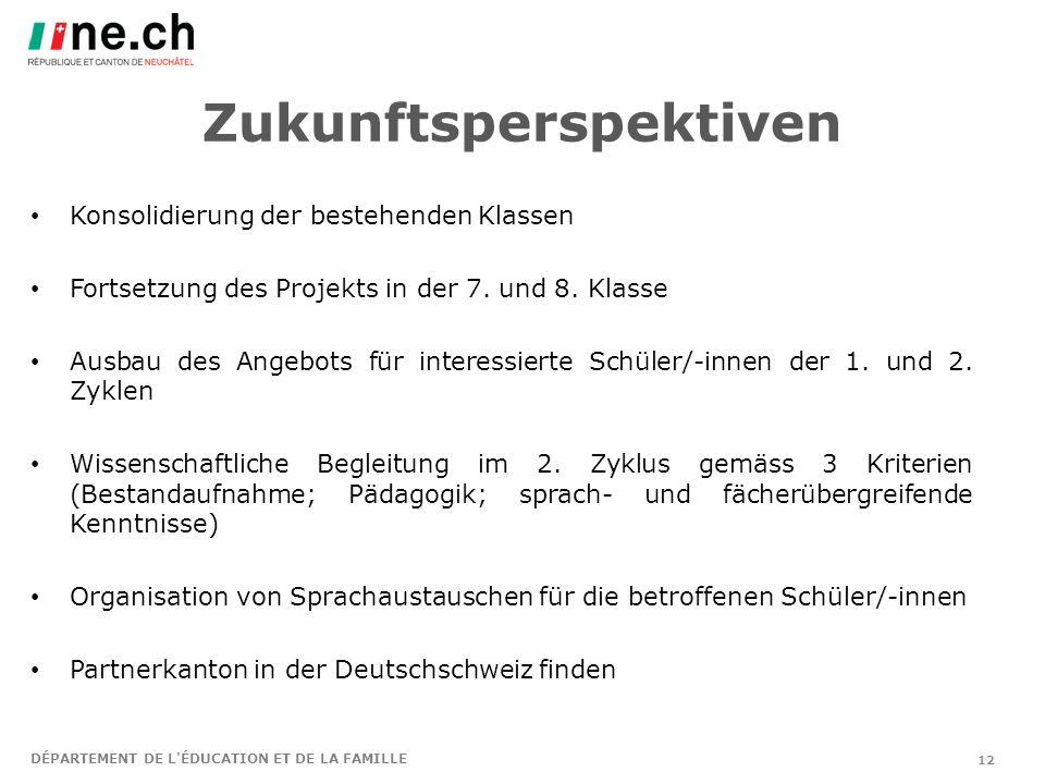 Zukunftsperspektiven Konsolidierung der bestehenden Klassen Fortsetzung des Projekts in der 7.