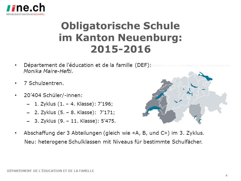 DÉPARTEMENT DE L ÉDUCATION ET DE LA FAMILLE 4 Obligatorische Schule im Kanton Neuenburg: 2015-2016 Département de l'éducation et de la famille (DEF): Monika Maire-Hefti.
