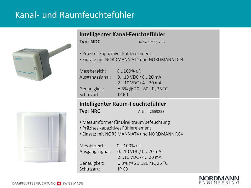 Kanal- und Raumfeuchtefühler Intelligenter Kanal-Feuchtefühler Typ: NDC Artnr.: 2559256 Präzises kapazitives Fühlerelement Einsatz mit NORDMANN AT4 und NORDMANN DC4 Messbereich: 0...100% r.F.