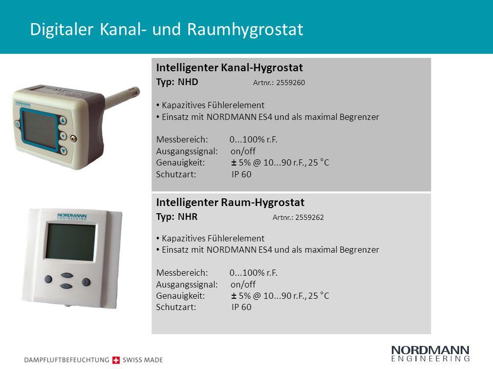 Digitaler Kanal- und Raumhygrostat Intelligenter Kanal-Hygrostat Typ: NHD Artnr.: 2559260 Kapazitives Fühlerelement Einsatz mit NORDMANN ES4 und als maximal Begrenzer Messbereich: 0...100% r.F.