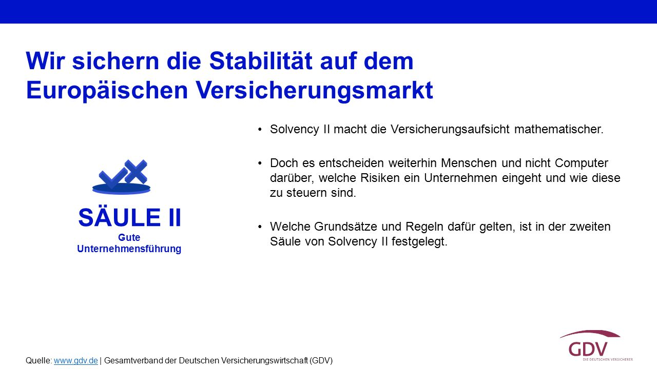 Quelle: www.gdv.de | Gesamtverband der Deutschen Versicherungswirtschaft (GDV)www.gdv.de Solvency II macht die Versicherungsaufsicht mathematischer. D