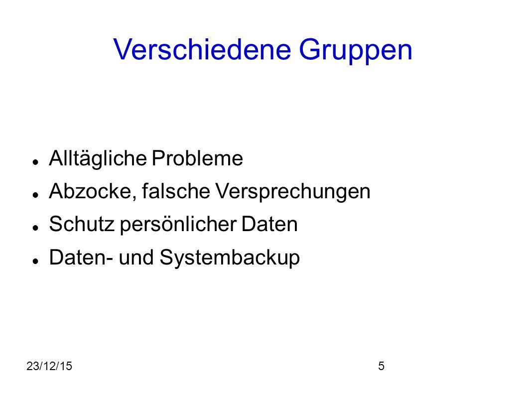 23/12/155 Verschiedene Gruppen Alltägliche Probleme Abzocke, falsche Versprechungen Schutz persönlicher Daten Daten- und Systembackup