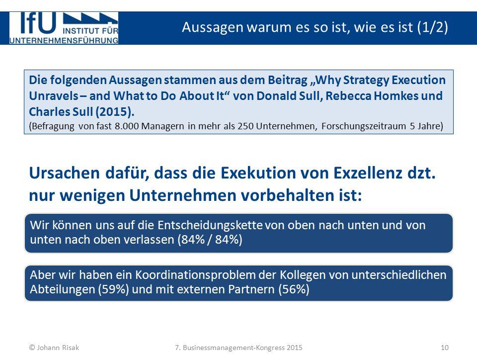 """Aussagen warum es so ist, wie es ist (1/2) 10© Johann Risak7. Businessmanagement-Kongress 2015 Die folgenden Aussagen stammen aus dem Beitrag """"Why Str"""