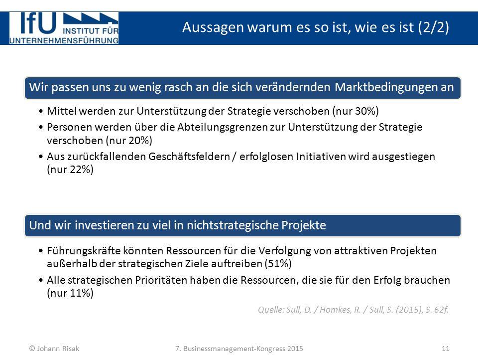 Aussagen warum es so ist, wie es ist (2/2) 11© Johann Risak7. Businessmanagement-Kongress 2015 Wir passen uns zu wenig rasch an die sich verändernden