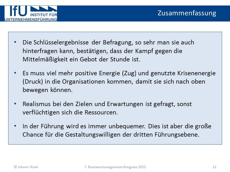 Zusammenfassung 12© Johann Risak7. Businessmanagement-Kongress 2015 Die Schlüsselergebnisse der Befragung, so sehr man sie auch hinterfragen kann, bes