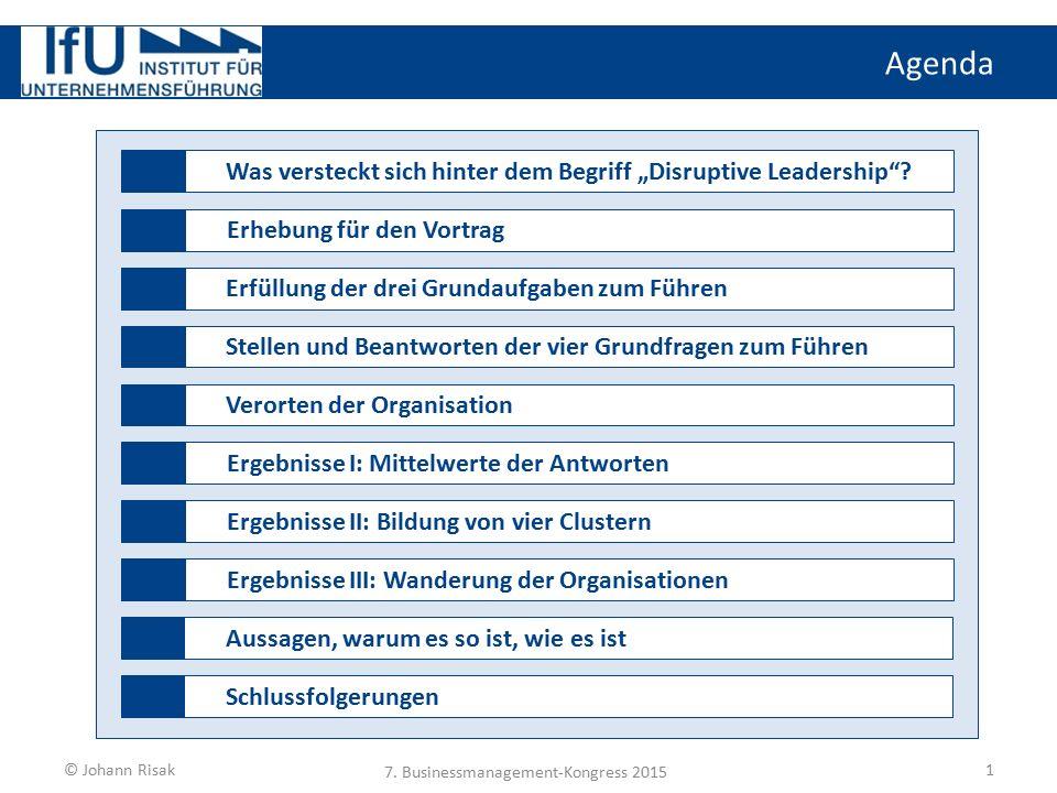 """Agenda 1 Was versteckt sich hinter dem Begriff """"Disruptive Leadership""""?Erhebung für den VortragErfüllung der drei Grundaufgaben zum FührenStellen und"""