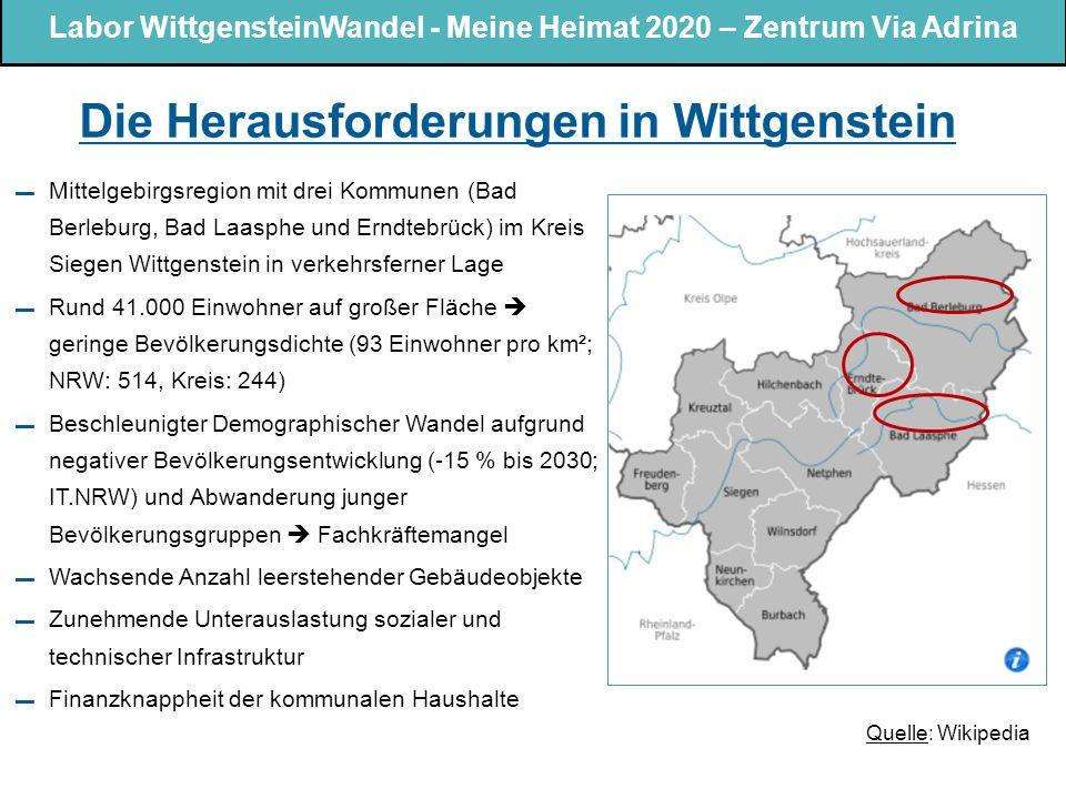 Die Herausforderungen in Wittgenstein ▬ Mittelgebirgsregion mit drei Kommunen (Bad Berleburg, Bad Laasphe und Erndtebrück) im Kreis Siegen Wittgenstein in verkehrsferner Lage ▬ Rund 41.000 Einwohner auf großer Fläche  geringe Bevölkerungsdichte (93 Einwohner pro km²; NRW: 514, Kreis: 244) ▬ Beschleunigter Demographischer Wandel aufgrund negativer Bevölkerungsentwicklung (-15 % bis 2030; IT.NRW) und Abwanderung junger Bevölkerungsgruppen  Fachkräftemangel ▬ Wachsende Anzahl leerstehender Gebäudeobjekte ▬ Zunehmende Unterauslastung sozialer und technischer Infrastruktur ▬ Finanzknappheit der kommunalen Haushalte Quelle: Wikipedia 2