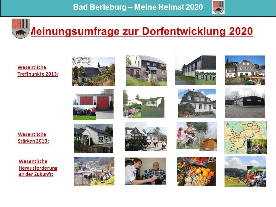 Bad Berleburg – Meine Heimat 2020 Meinungsumfrage zur Dorfentwicklung 2020 Wesentliche Treffpunkte 2013: Wesentliche Stärken 2013: Wesentliche Herausf