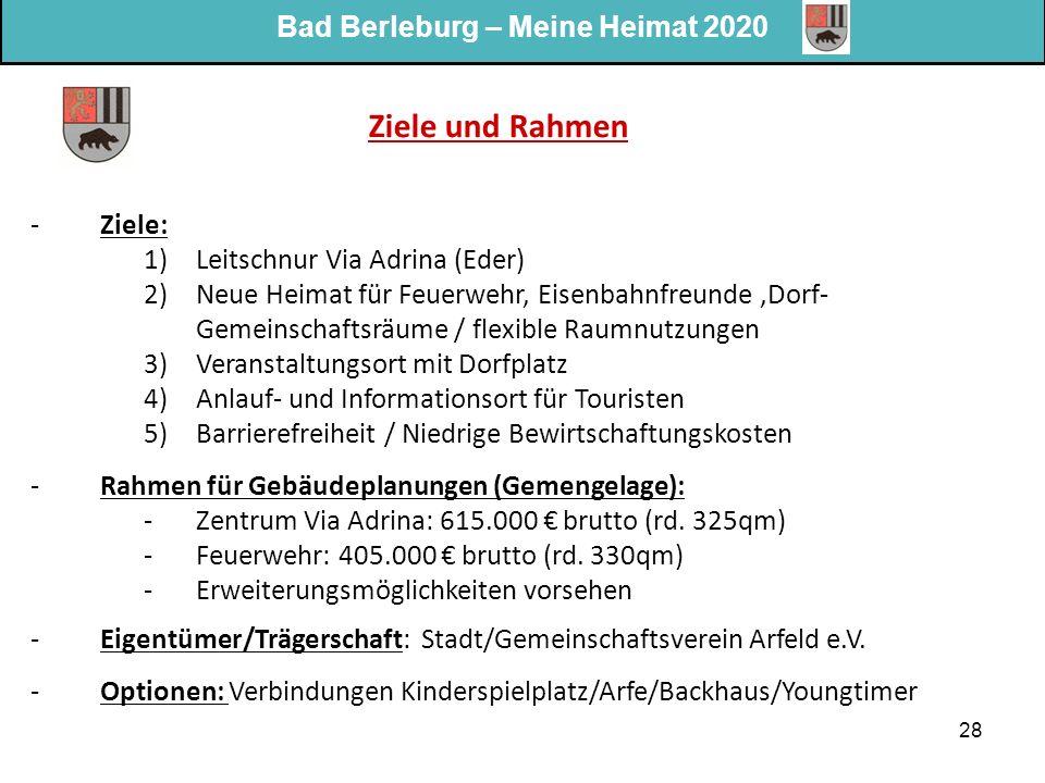 Bad Berleburg – Meine Heimat 2020 28 Ziele und Rahmen -Ziele: 1)Leitschnur Via Adrina (Eder) 2)Neue Heimat für Feuerwehr, Eisenbahnfreunde,Dorf- Gemei