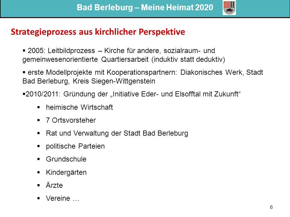 Bad Berleburg – Meine Heimat 2020 6 Strategieprozess aus kirchlicher Perspektive  2005: Leitbildprozess – Kirche für andere, sozialraum- und gemeinwe