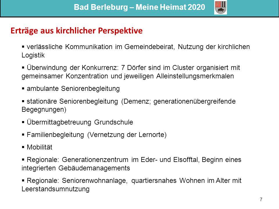 Bad Berleburg – Meine Heimat 2020 7 Erträge aus kirchlicher Perspektive  verlässliche Kommunikation im Gemeindebeirat, Nutzung der kirchlichen Logist