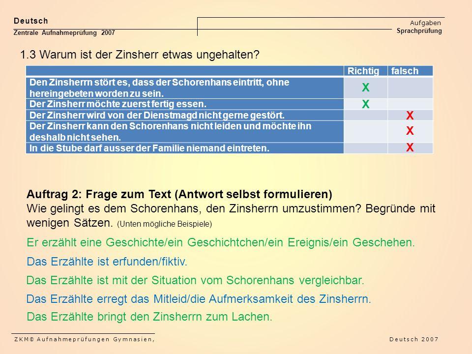 Deutsch Aufgaben Sprachprüfung Zentrale Aufnahmeprüfung 2007 ZKM © Aufnahmeprüfungen Gymnasien, Deutsch 2007 Richtigfalsch Den Zinsherrn stört es, dass der Schorenhans eintritt, ohne hereingebeten worden zu sein.