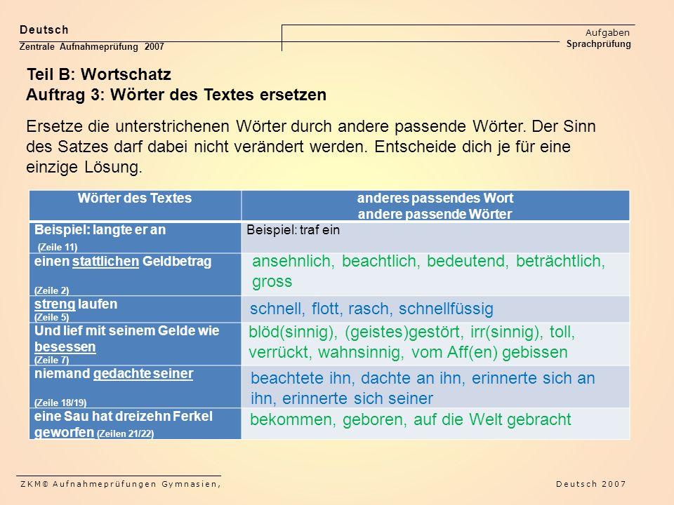 Deutsch Aufgaben Sprachprüfung Zentrale Aufnahmeprüfung 2007 ZKM © Aufnahmeprüfungen Gymnasien, Deutsch 2007 Teil B: Wortschatz Auftrag 3: Wörter des Textes ersetzen Ersetze die unterstrichenen Wörter durch andere passende Wörter.