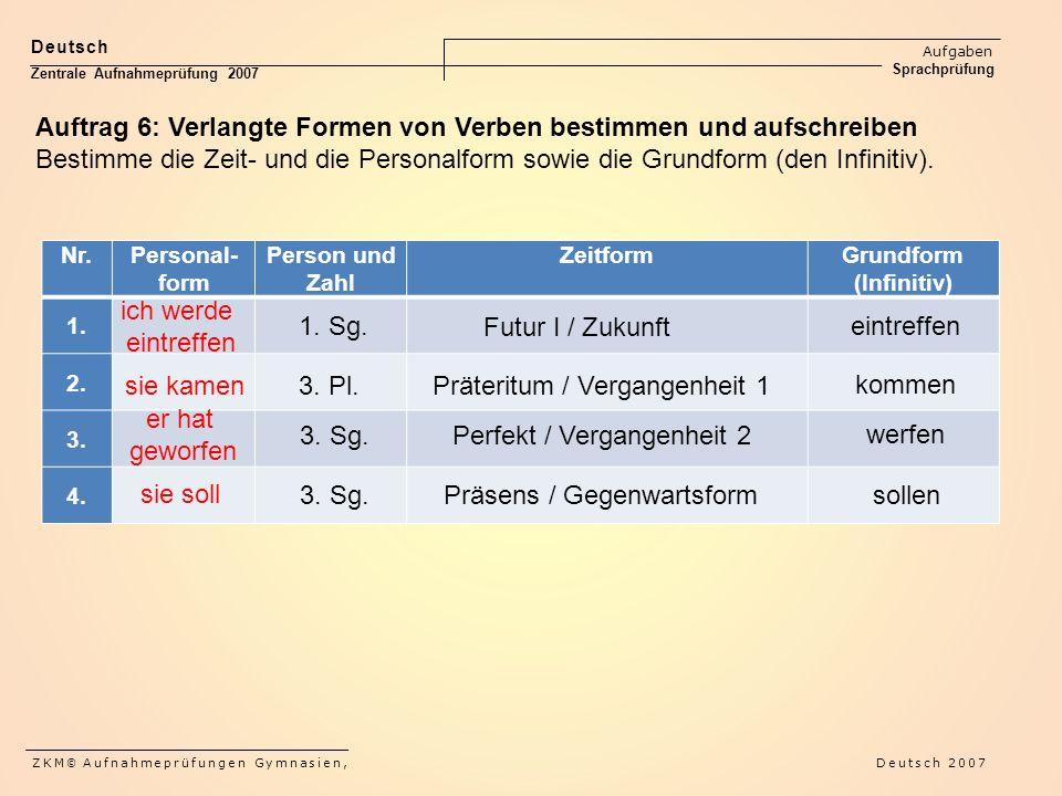 Deutsch Aufgaben Sprachprüfung Zentrale Aufnahmeprüfung 2007 ZKM © Aufnahmeprüfungen Gymnasien, Deutsch 2007 Auftrag 6: Verlangte Formen von Verben bestimmen und aufschreiben Bestimme die Zeit- und die Personalform sowie die Grundform (den Infinitiv).