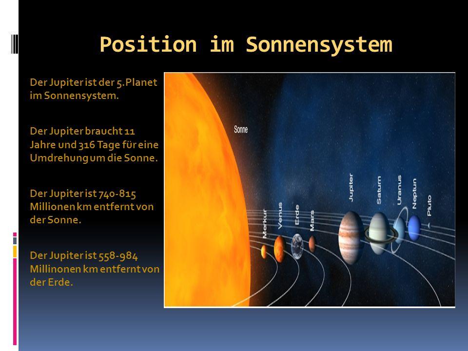 Position im Sonnensystem Der Jupiter ist der 5.Planet im Sonnensystem. Der Jupiter braucht 11 Jahre und 316 Tage für eine Umdrehung um die Sonne. Der