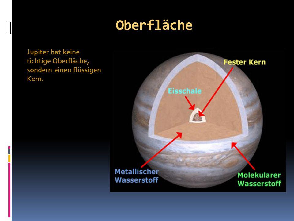 Oberfläche Jupiter hat keine richtige Oberfläche, sondern einen flüssigen Kern.