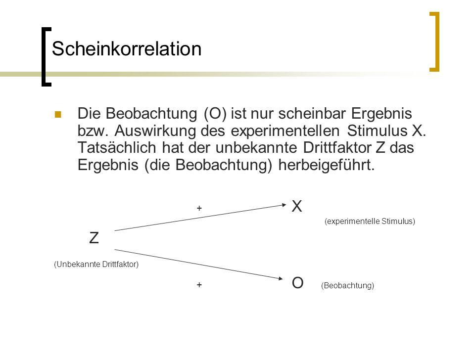 Scheinkorrelation Die Beobachtung (O) ist nur scheinbar Ergebnis bzw.