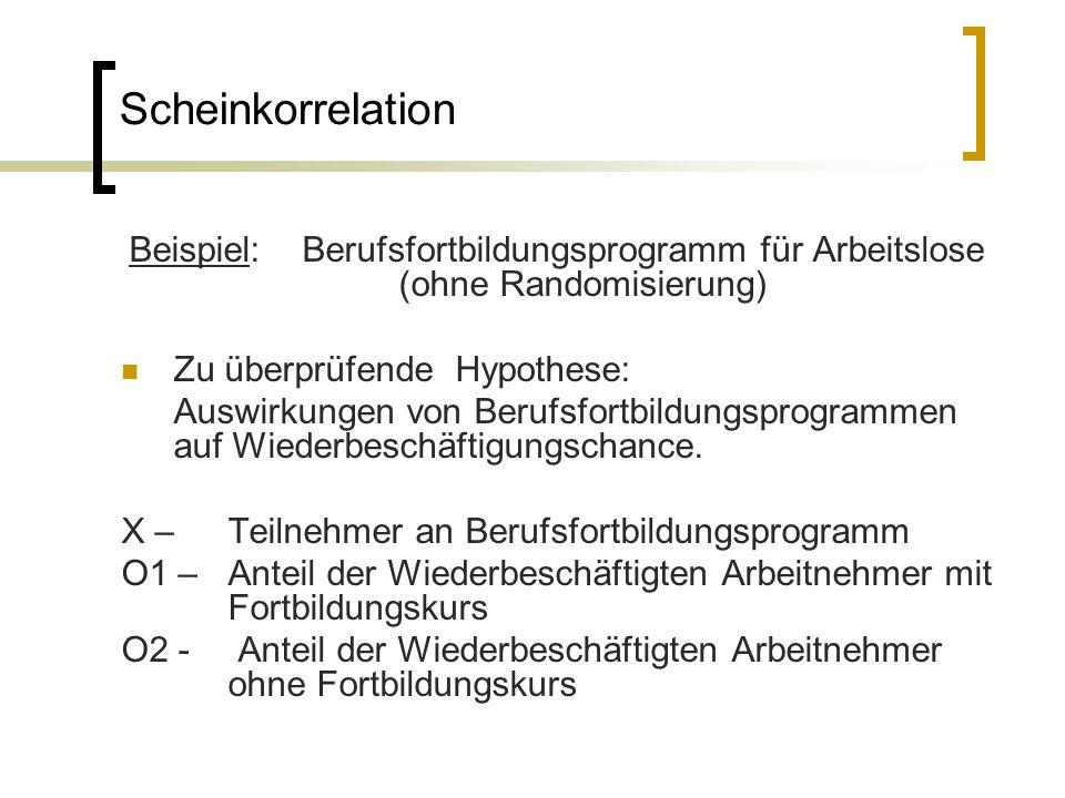Scheinkorrelation Beispiel: Berufsfortbildungsprogramm für Arbeitslose (ohne Randomisierung) Zu überprüfende Hypothese: Auswirkungen von Berufsfortbildungsprogrammen auf Wiederbeschäftigungschance.