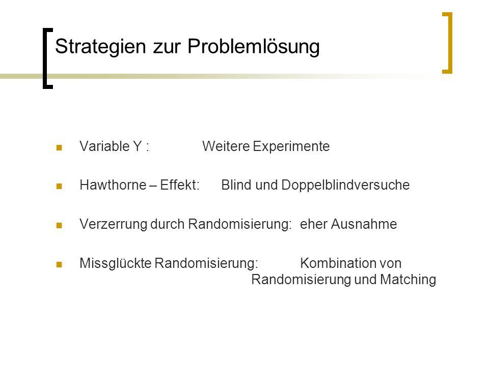 Strategien zur Problemlösung Variable Y : Weitere Experimente Hawthorne – Effekt: Blind und Doppelblindversuche Verzerrung durch Randomisierung: eher Ausnahme Missglückte Randomisierung: Kombination von Randomisierung und Matching