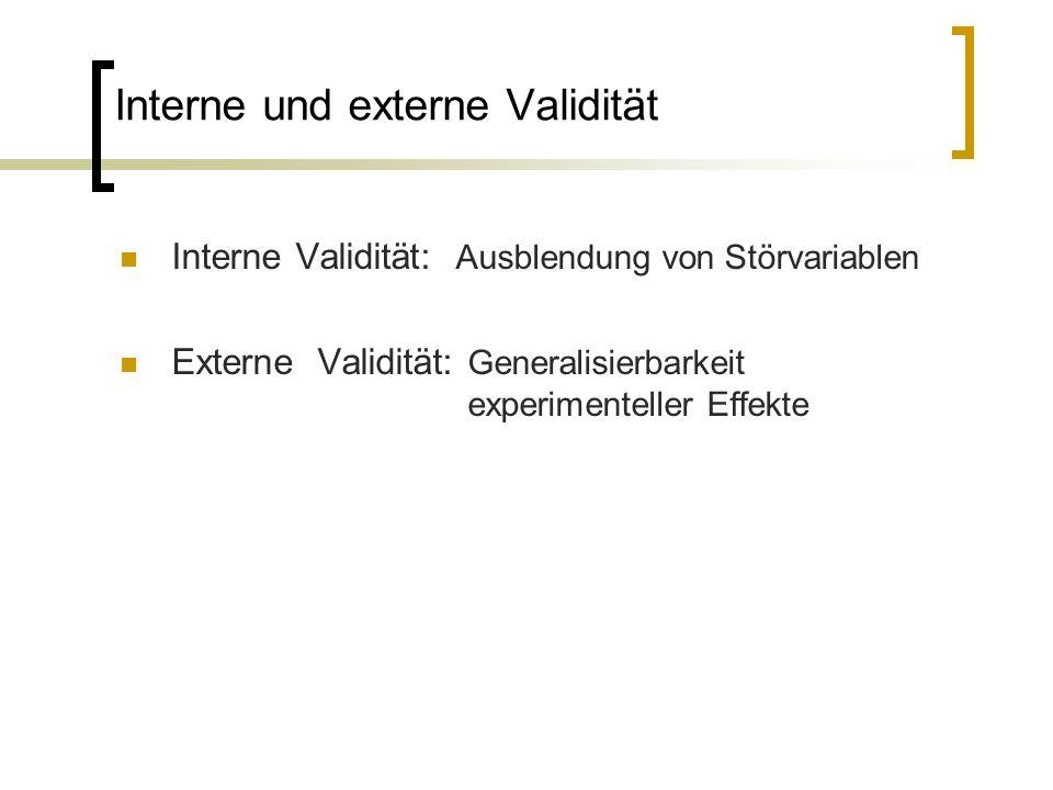 Interne und externe Validität Interne Validität: Ausblendung von Störvariablen Externe Validität: Generalisierbarkeit experimenteller Effekte