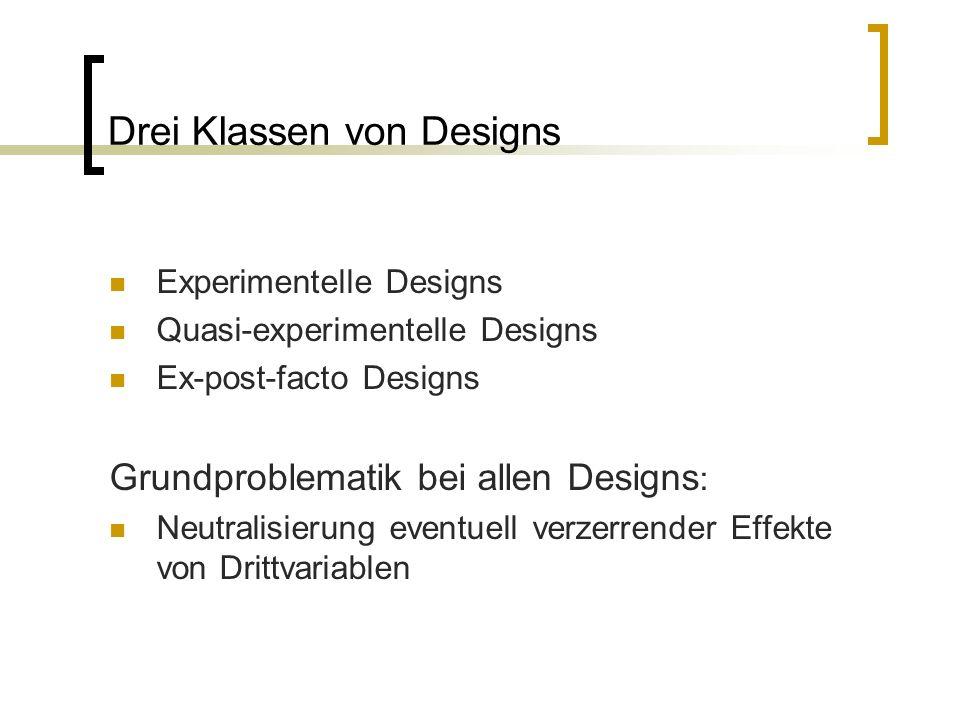 Drei Klassen von Designs Experimentelle Designs Quasi-experimentelle Designs Ex-post-facto Designs Grundproblematik bei allen Designs : Neutralisierung eventuell verzerrender Effekte von Drittvariablen