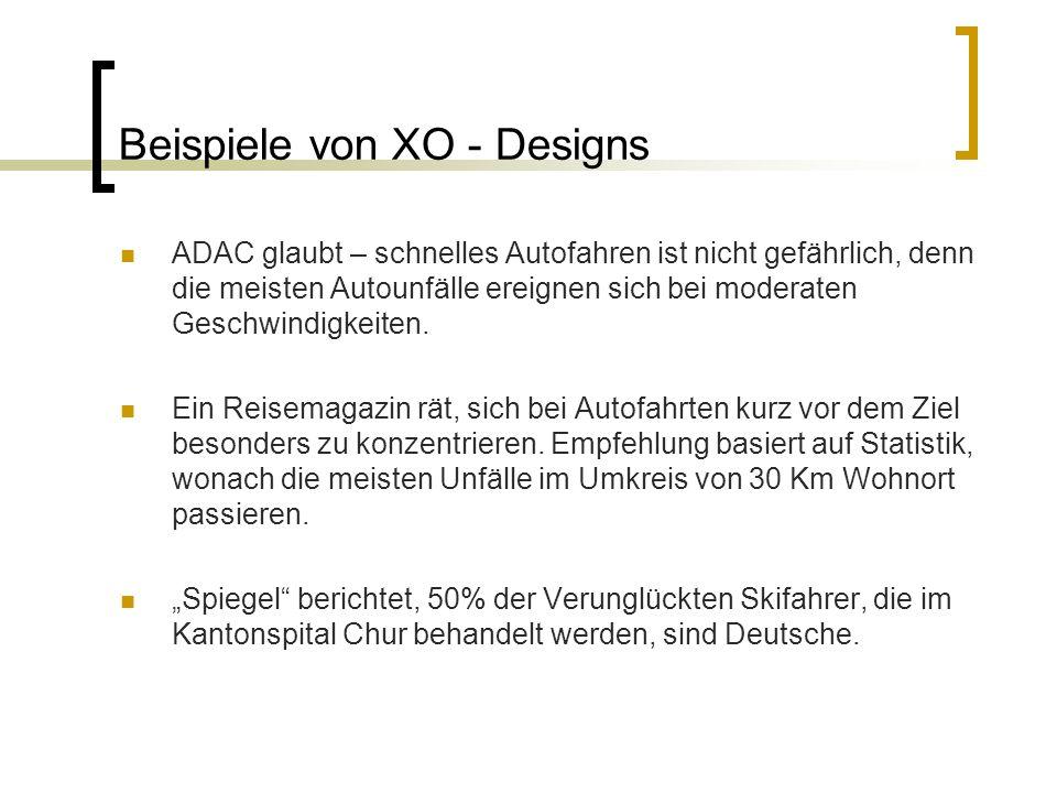 Beispiele von XO - Designs ADAC glaubt – schnelles Autofahren ist nicht gefährlich, denn die meisten Autounfälle ereignen sich bei moderaten Geschwindigkeiten.
