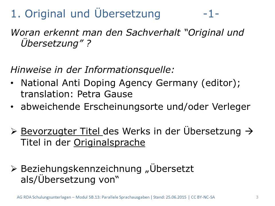 1.Original und Übersetzung-1- Woran erkennt man den Sachverhalt Original und Übersetzung .