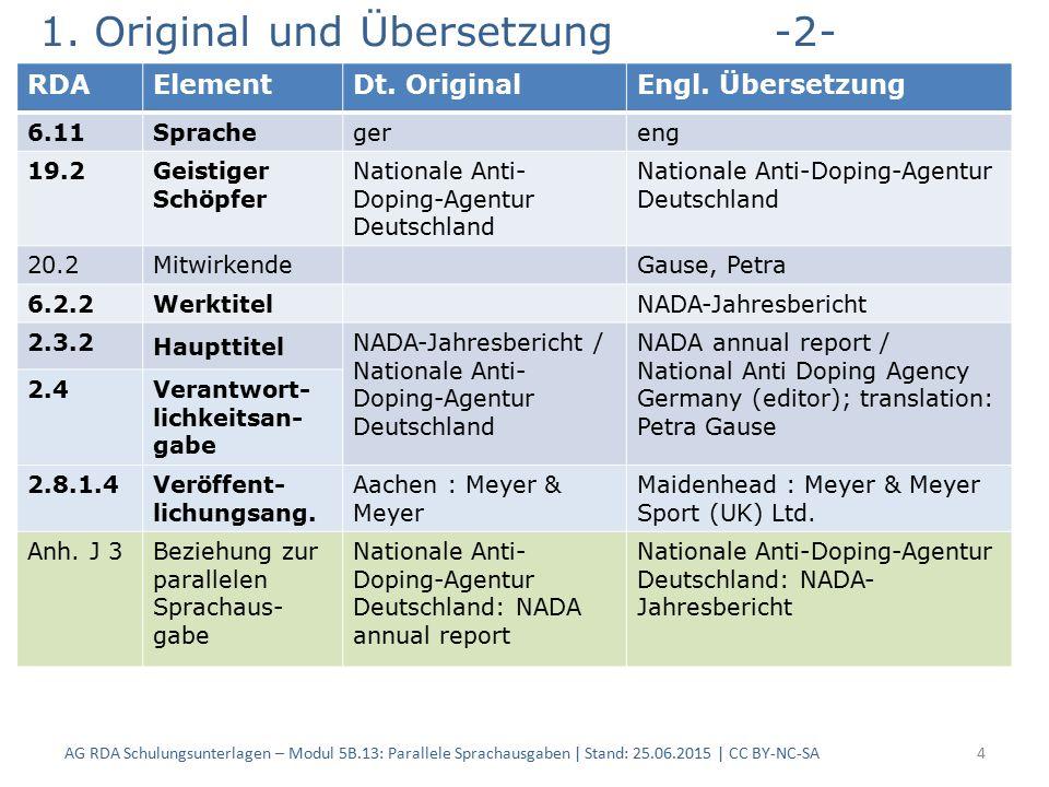 1. Original und Übersetzung-2- AG RDA Schulungsunterlagen – Modul 5B.13: Parallele Sprachausgaben | Stand: 25.06.2015 | CC BY-NC-SA4 RDAElementDt. Ori