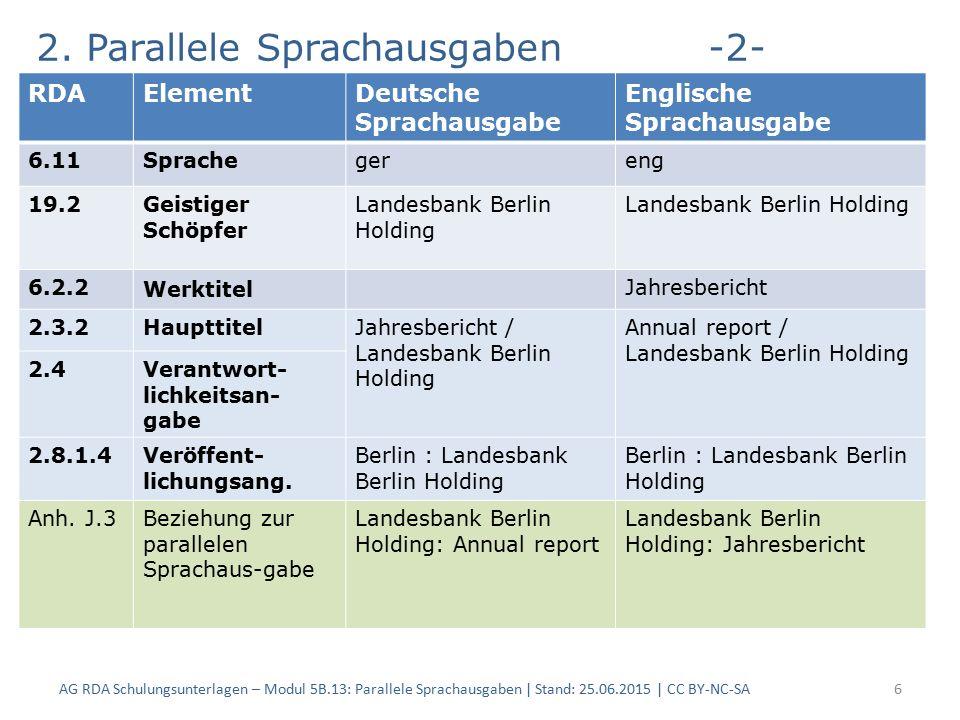 2. Parallele Sprachausgaben-2- AG RDA Schulungsunterlagen – Modul 5B.13: Parallele Sprachausgaben | Stand: 25.06.2015 | CC BY-NC-SA6 RDAElementDeutsch