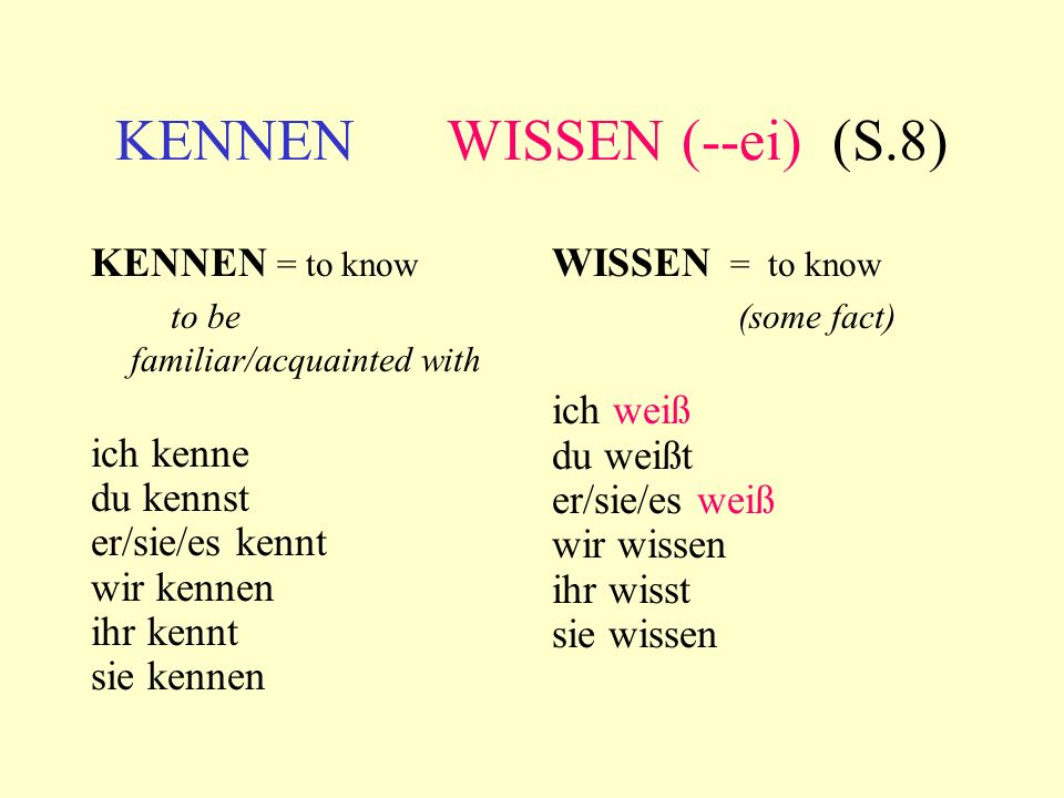 KENNEN WISSEN (--ei) (S.8) KENNEN = to know to be familiar/acquainted with ich kenne du kennst er/sie/es kennt wir kennen ihr kennt sie kennen WISSEN = to know (some fact) ich weiß du weißt er/sie/es weiß wir wissen ihr wisst sie wissen